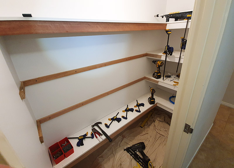 Walk-in cupboard shelving project